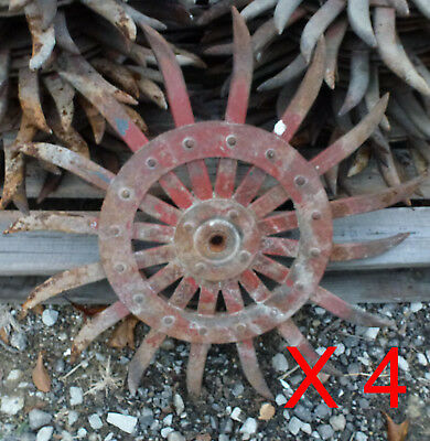 4 LOT - Rotary Hoe Wheel primitive yard garden lawn snowflake flower spiked iron