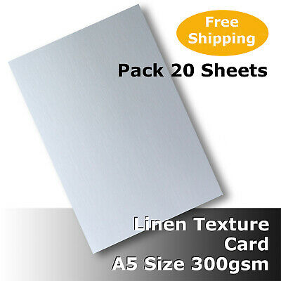 20 Sheets Linen Texture Finish A5 Size 300gsm Quality White Card #H6005 #D1