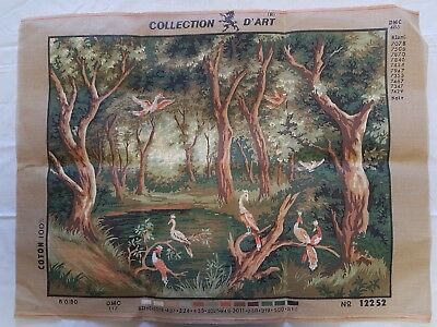 Collection D'art Tapestry Needlepoint canvas Forest with Birds No. 12252