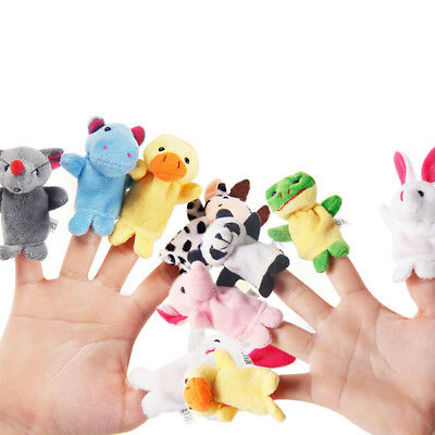 10Pcs Finger Dolls Animals Plush Toys Kids Baby Learn Story Hand Puppet Set Toy