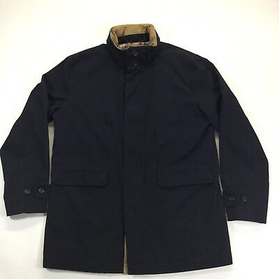 Brooks Brothers Men's Size L Navy Blue Cotton Classic Jacket Full-Zip Lined Coat
