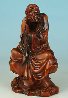 Exquisite Boxwood Handmade Carved Jigong buddha  Statue Decoration