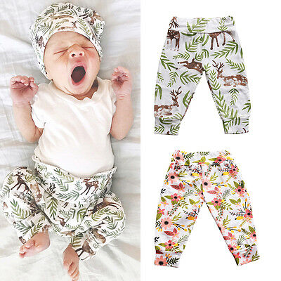 Newborn Baby Boys Girls Toddler Cartoon Deer Bottom Harem Pants Leggings Trouse