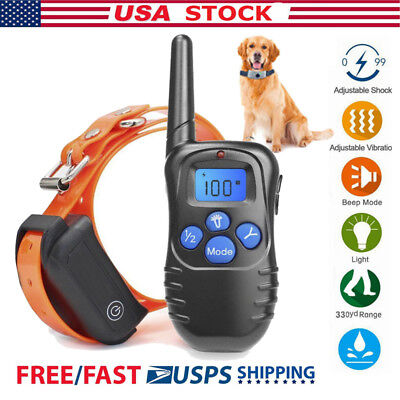 330 Yard 100LV Electric Remote Dog Training Rechargeable Waterproof Shock Collar