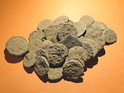 Five assorted Encrusted Roman Coins for Cleaning, Research and Identification