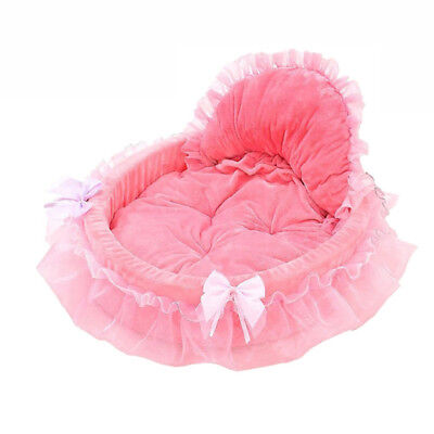 Pet Cat Dog Puppy Princess Bow Small Large Lace Soft Kennel Dog-house Warm Beds