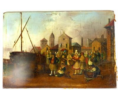 SMALL ANTIQUE 18TH or 19TH CENTURY DUTCH SCHOOL MARKET HARBOUR TOWN SCENE