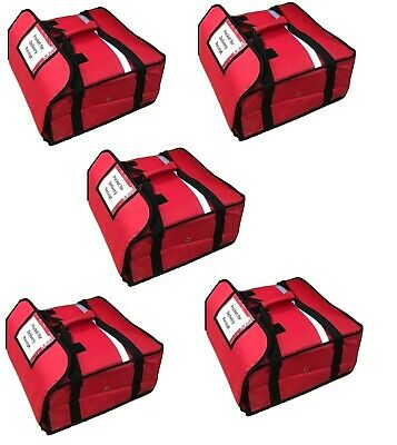 "5 x HEAVY DUTY PIZZA DELIVERY BAG (Size 20""x 20""x 8"") Full Insulated fit 20"" Box"