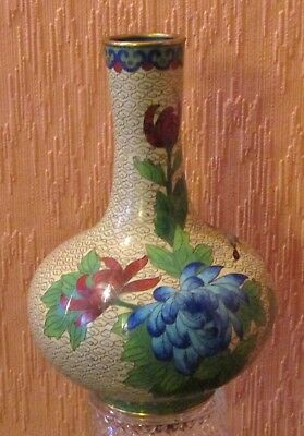 Single Gourd Brass & Enamel Chinese Cloisonne' Vase with Butterfly & Flowers.
