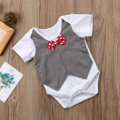 Newborn Toddler Baby Boy Gentleman Clothes Tops T-shirt Romper Jumpsuit Outfit