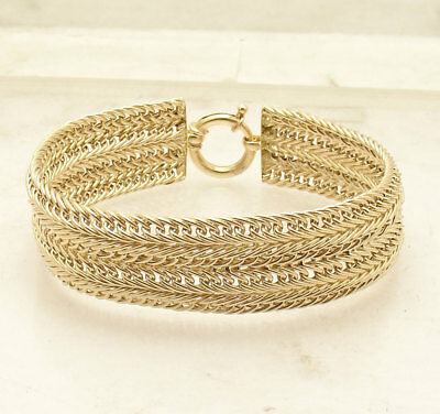 "8"" Double Row Domed Cuban Curb Bracelet Box Clasp Lock Real 14K Yellow Gold"
