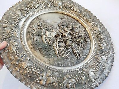 Antique Silver Plate Decorative Repousee Wall Plaque Country Harvest Scene