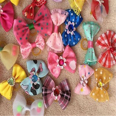 20x Pet Neck Bow Ties Collars Small Dog Cat Adjustable Grooming Accessories