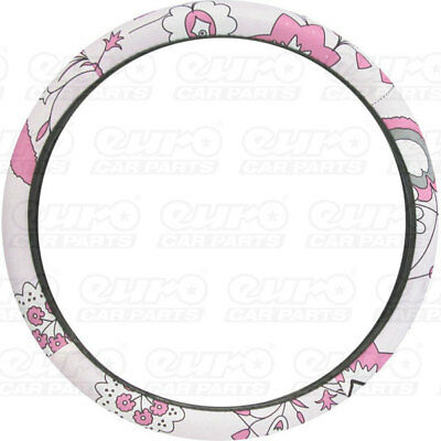 Carpoint CPT2510021 Ladyline Car Steering Wheel Cover Pink Flower Accessory