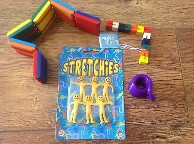 pocket Fidget pack wooden Jacob's Ladder twist  lock block tangle 6 stretchy men