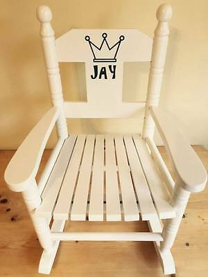 Powell Craft Childrens Wooden Rocking Chair Personalised Available In White Pink