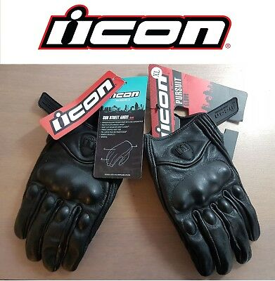 ON SALE !!! icon 100% Genuine Leather Cafe Racer Motorcycle Gloves New With Tags