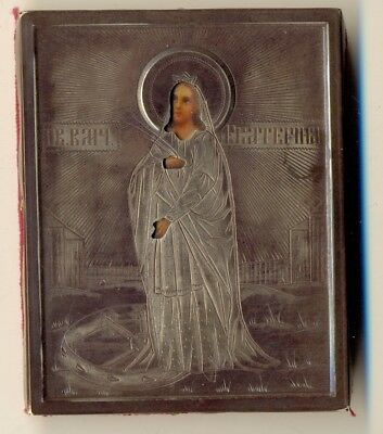 Russian Icon Sterling Silver  St Ekaterina     (1764)
