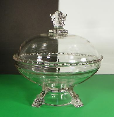Antique Hobbs Brockunier VIKING FACE Glass Covered Compote Centennial