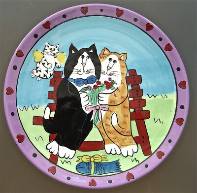 Catzilla Cat-Lover's Handpainted Ceramic Plate Dishwasher & Microwave Safe