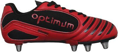 OPTIMUM VELOCITY RUGBY BOOTS Size 8 EU 42 Black Red NEW