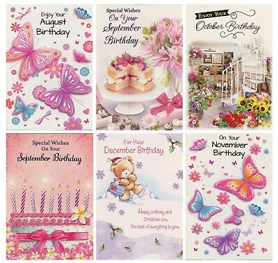 Female Months Of The Year  Birthday Cards  Birthday Cards 1St P&P