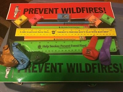 Smokey the Bear Stickers, Pencils, Rulers, Erasers, Balloons