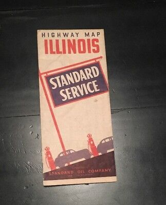 Bb031 Highway Map Of Illinois Standard Oil Company 1930 IL