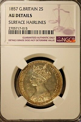 1857 Great Britain Florin Gothic Silver NGC UNC Details** Free U.S. Shipping **