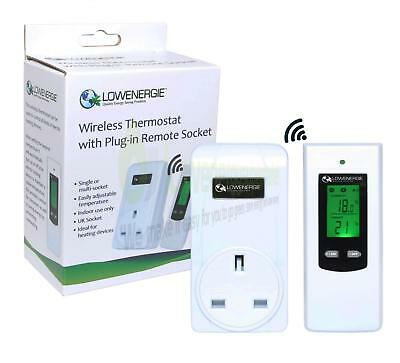 Wireless Digital Plug in Heating Thermostat Remote Control Electric RF Socket