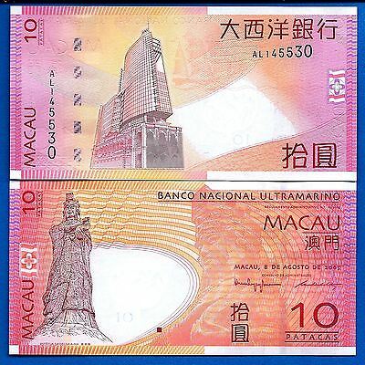 Macau P-80 Ten Patacas Goddess A-Ma Year 8.8.2005 Uncirculated Banknote