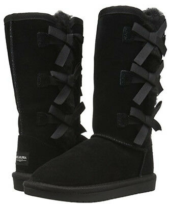 Koolaburra By UGG Girl's Victoria Tall Suede Triple Bow Boot Black Youth Size 2