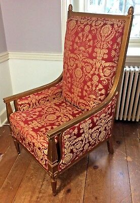 Neoclassical Style Vintage Arm Chair  MID CENTURY Beautifully Brocade Fabric
