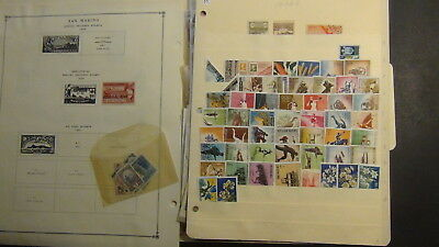 San Marino  stamp collection on Scott Int'l pages to '35, glassines, etc