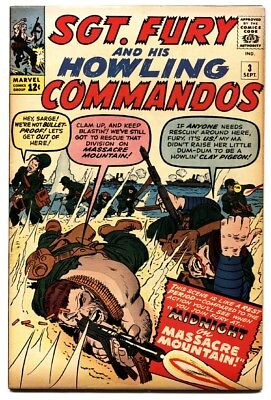 SGT FURY AND HIS HOWLING COMMANDOS-#3-1963-MARVEL-KIRBY ART-WWII comic book