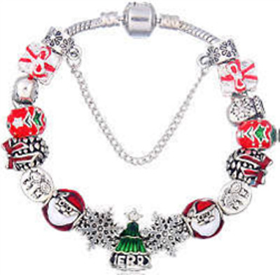 Christmas Holiday Bracelet Santa  Tree Red Green 15 bead/charm Euro Pandora-Size