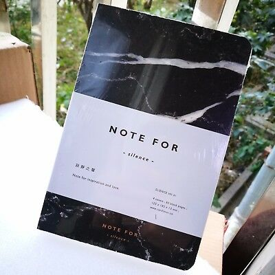 1Pc A5 Black Marble Blank Notebook, Korean Stationery, Planner Diary Memo Paper