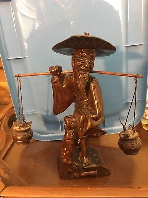 Vintage Hand Carved Wood Chinese Wise Old Man Fisherman Statue Figurine