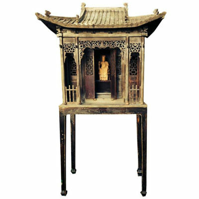 Chinese Antique Tall Carved Wooden Garden Shrine, Qing dynasty 19thc