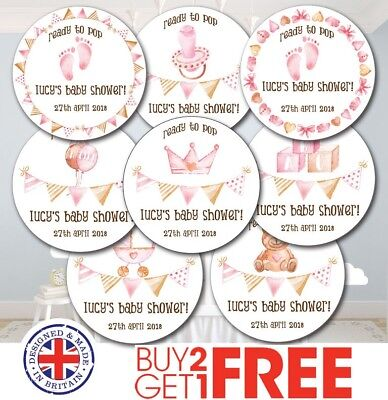 24x 40mm Personalised New Baby Shower Birth Girl Christening Cute Stickers/Label