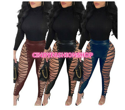 Women Lace UP Hollow Out PU Sexy Pants High Waist Skinny Bandage Club Trousers C