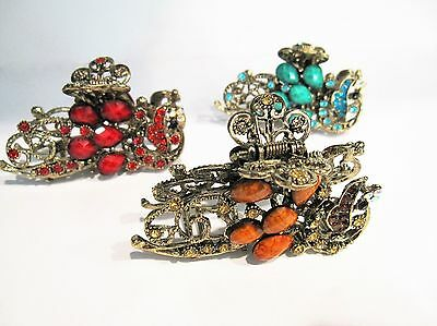 Large peacock jeweled antique style bronze gold metal hair claw clips with cryst