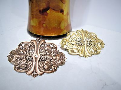 Copper plated brass or gold metal filigree hair clip barrette