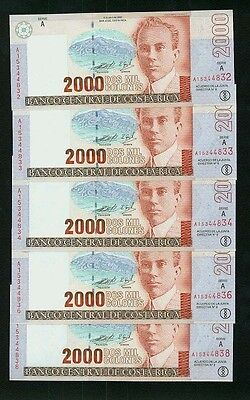 Costa Rica 1997  2,000 Colones  Banknotes  Uncirculated, Group Lot Of (5)