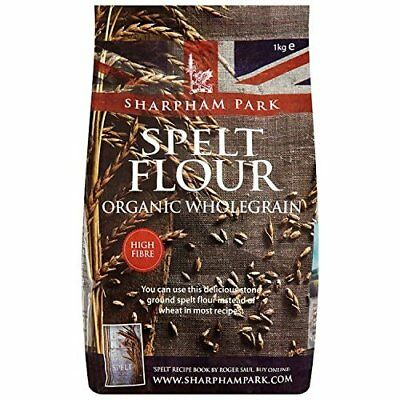 Sharpham Park Organic Stoneground Wholegrain Spelt Flour 1 Kg (Pack of 3)