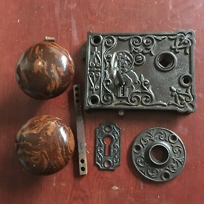 Antique SHC Victorian Eastlake Era  Rim Lock  & Key 2 Bennington DoorKnobs.