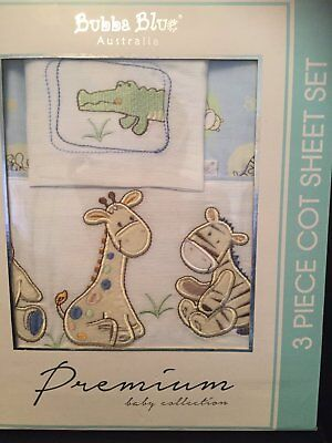 Bubba Blue 3 Piece Embroidered Cot Sheet Set - Jungle