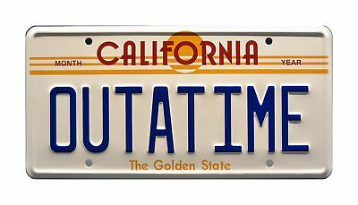 Back to the Future / Delorean / OUTATIME *Metal Stamped* Vanity Prop License ...