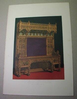 1863 color litho: Carved Oak Sideboard, by Crace of London; royal Exposition