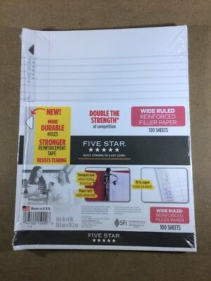 Five Star Filler Paper, Wide Ruled, Reinforced, Loose Leaf Paper, 10.5 x 100